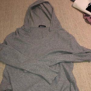 Brandy Melville waffle print gray hoodie top